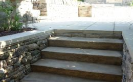 Stone cill steps with subtle lighting